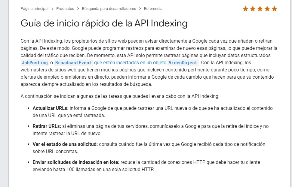Indexing API de Google